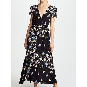 🆕 Free People Black Floral Wrap Maxi Dress